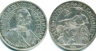Монета Дании 2 кроны 1903 года выпуска