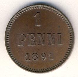 Монета 1 пенни 1891 года для Финляндии (Александра III) - реверс
