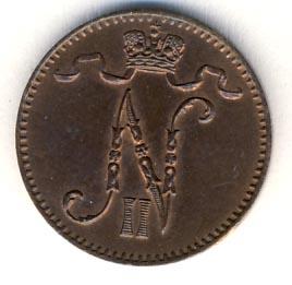 Монета 1 пенни 1895 года для Финляндии (Николая II) - аверс