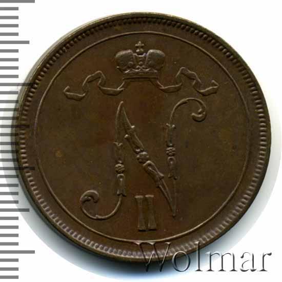 Монета 10 пенни 1905 года для Финляндии (Николая II) - аверс