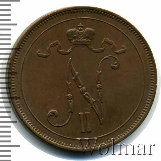 Монета 10 пенни 1909 года для Финляндии (Николая II) - аверс