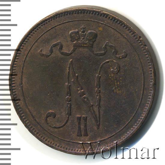 Монета 10 пенни 1908 года для Финляндии (Николая II) - аверс