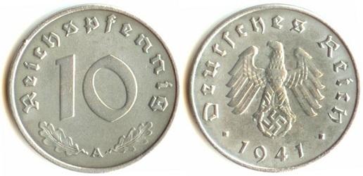 Монета фашистской Германии номиналом 10 пфеннингов