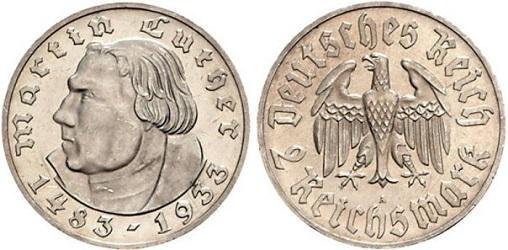 Монета в память Мартина Лютера 1933 года номиналом 2 рейсмарки