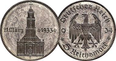 Монета, посвященная годовщине прихода к власти Гитлера 1934 года номиналом 5 рейхсмарок