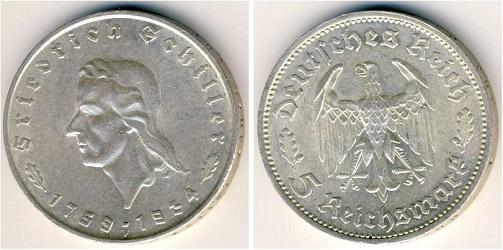 Монета, посвященная 175-летию со дня рождения поэта Шиллера