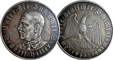 Монета фашистской Германии с изображением Гитлера