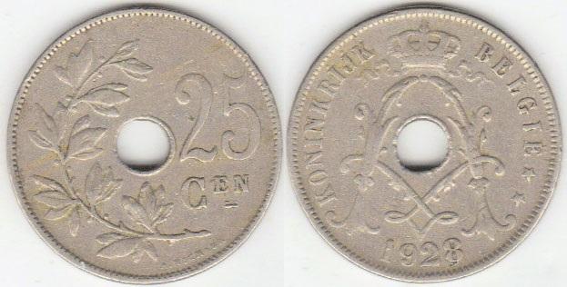 Бельгийские 25 сантимов 1928 года
