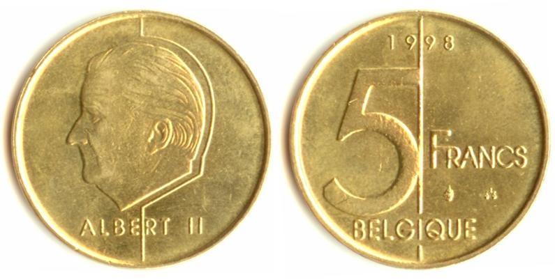 Бельгийские 5 франков 1998 года