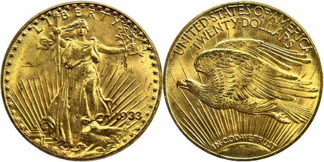 """Золотая американская монета """"Двойной орел"""" 1933 года"""