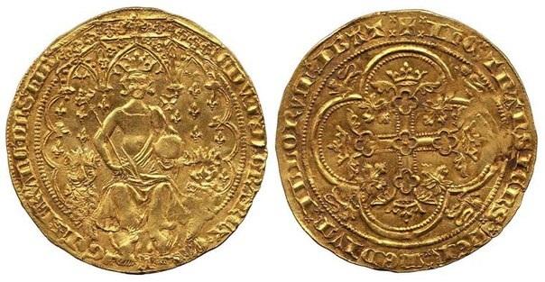 Золотая монета Англии «Двойной Леопард» 1343 года