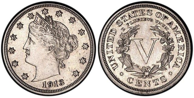 Никелевая монета США «голова Свободы» 1913 года