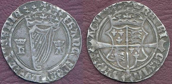 Первые ирландские монеты с изображением арфы
