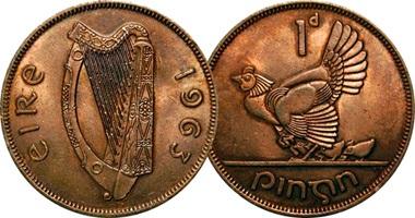 Медные ирландские пенни 1963 года