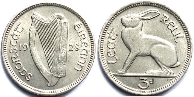 3 пенса 1928 года