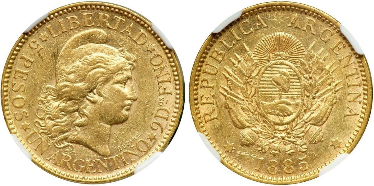 Золотые 5 песо 1885 года