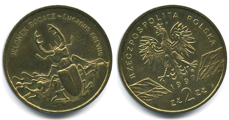 Юбилейная монета Польши посвящена миру насекомых - жук-олень