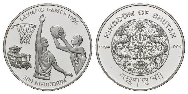 "Монета ""Баскетбол"" 300 нгултрумов Бутана 1994 года"