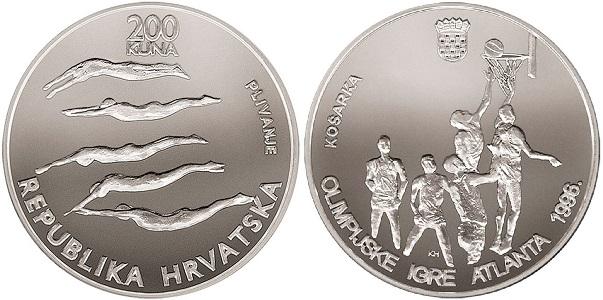 """Монета """"Баскетболл"""" 200 кун Хорватии 1996 года"""