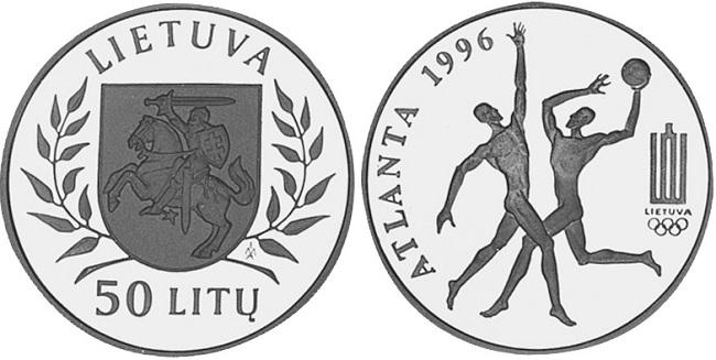 "Монета ""Баскетбол"" 50 лит Литвы 1996 года"