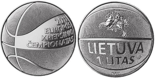 "Монета ""Баскетбол"" 1 лит Литвы 2011 года"