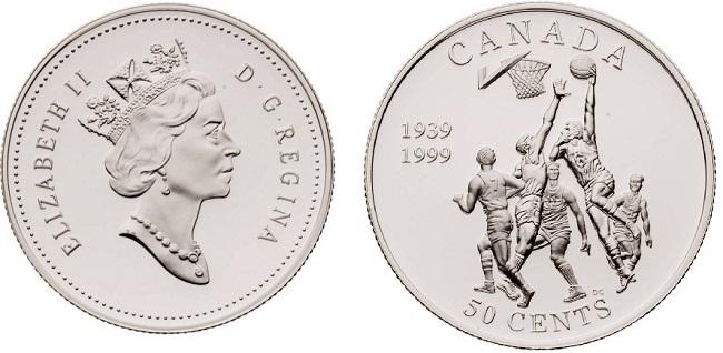 """Монета """"Баскетбол"""" 50 центов Канады 1999 года"""