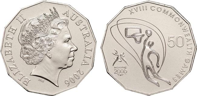 "Монета ""Баскетбол"" 50 центов Австралии 2006 года"