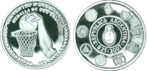 "Монета ""Баскетбол"" 25 песо Аргентины 2007 года"