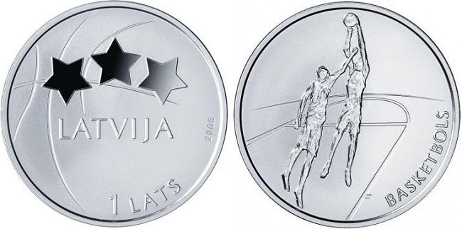 "Монета ""Баскетбол"" 1 лат Латвии 2008 года"