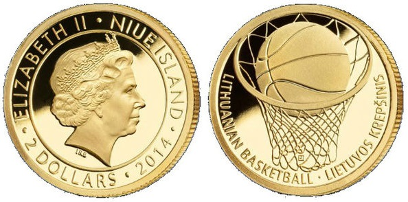 "Монета ""Баскетбол"" 2 доллара Ниуэ 2014 года"