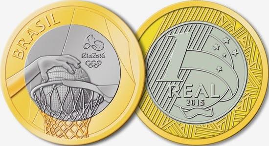 "Монета ""Баскетбол"" 1 реал Бразилии 2015 года"