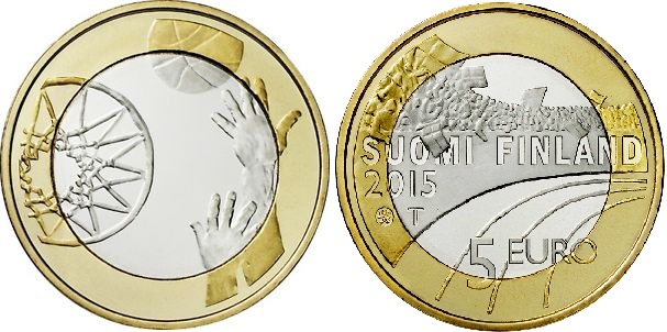 """Монета """"Баскетбол"""" 5 евро Финляндии 2015 года"""
