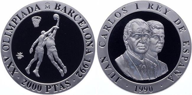 "Монета ""Баскетбол"" 2000 песет Испании 1990 года"