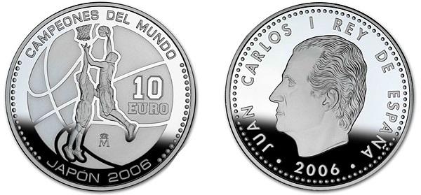 """Монета """"Баскетбол"""" 10 евро Испании 2006 года"""