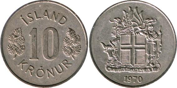 Монета Исландии 10 крон 1970 года