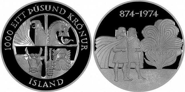 """Монета """"1100 лет первому упоминанию об Исландии"""" 1000 крон 1974 года"""