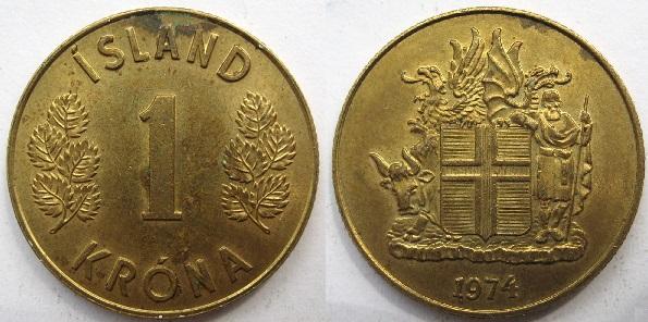 1 крона Исландии 1974 года