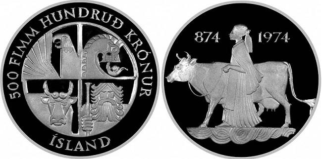 """Монета """"1100 лет первому упоминанию об Исландии"""" 500 крон 1974 года"""