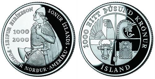 "Монета Исландии ""1000 лет Эрикссону"" 1000 крон 2000 года"