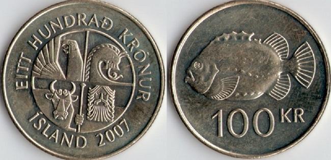 """Монета Исландии """"Пинагора"""" 100 крон 2007 года"""