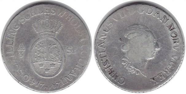 Монета Норвегии 2/3 далера 1787 года