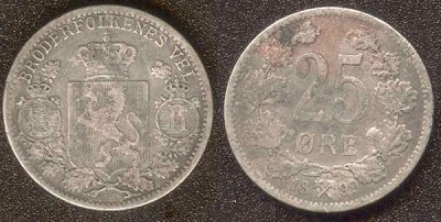 Монета Норвегии 25 эре 1899 года