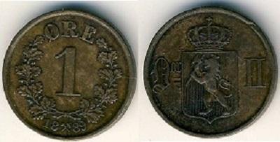 Монета Норвегии 1 эре 1903 года