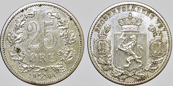 Монета Норвегии 25 эре 1904 года