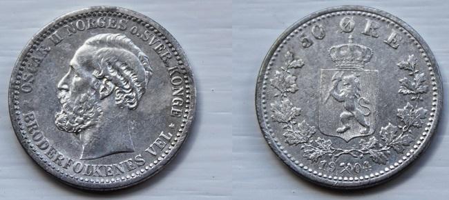 Монета Норвегии 50 эре 1904 года