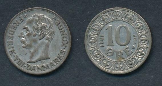 Монета Норвегии 10 эре 1911 года