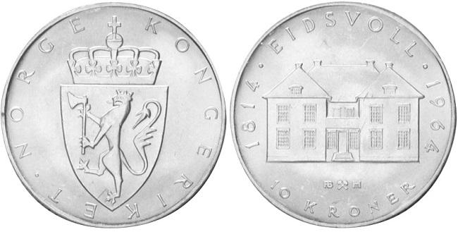 "Монета Норвегии ""150 лет Норвежской конституции"" 10 крон 1964 года"