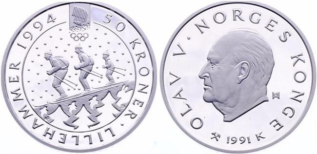 """Монета Норвегии """"Зимние Олимпийские игры 1994 года в Лиллехаммере"""" 50 крон 1991 года"""