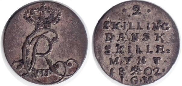 Монета Норвегии 2 скиллинга 1802 года