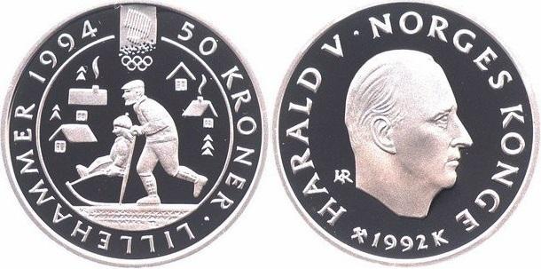 """Монета Норвегии """"Зимние Олимпийские игры 1994 года в Лиллехаммере"""" 50 крон 1992 года"""